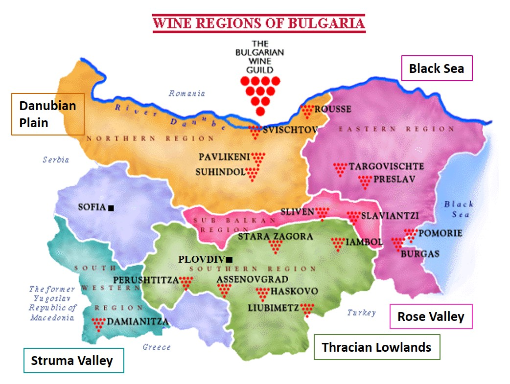 Bulgaarse wijnkaart met regios