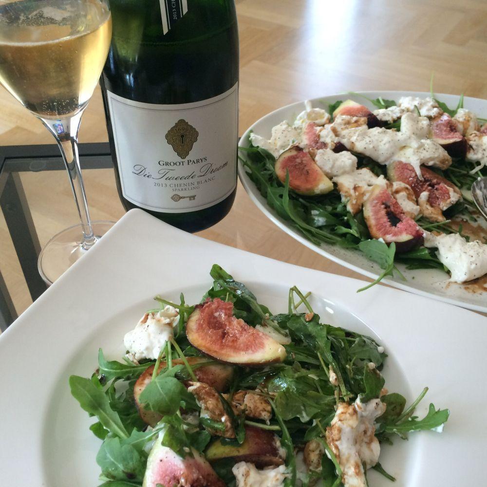 salade burrata en vijgen