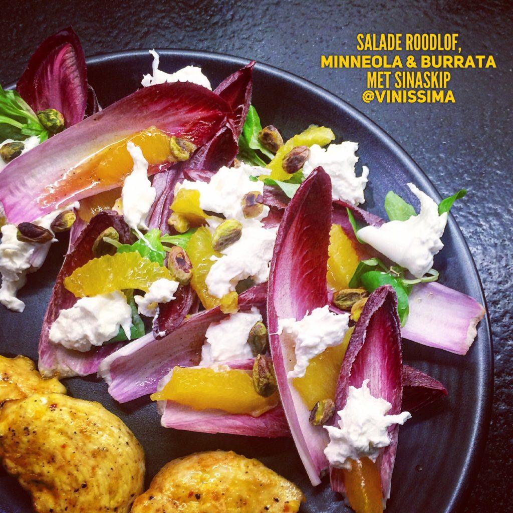 Salade roodlof, minneola en burrata