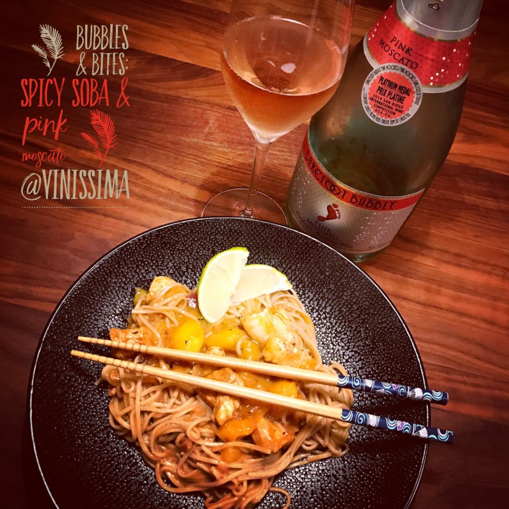 Spicy soba & Barefoot bubbly sparkling pink moscato