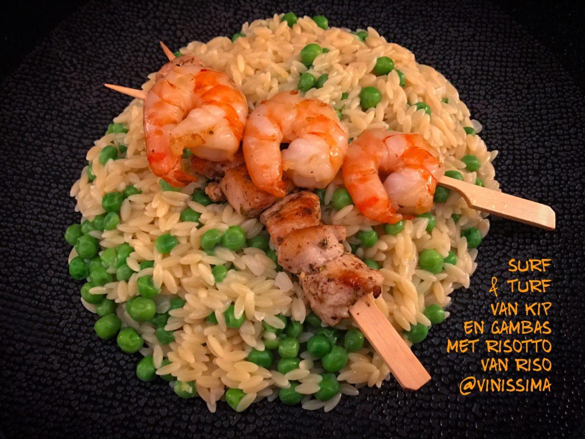Surf & turf van kip en gambas met risotto van riso
