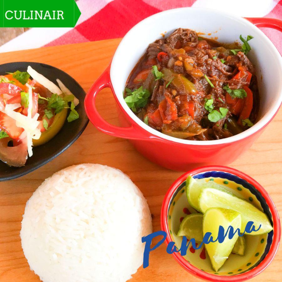 Panamese roja vieja y arroz con coco