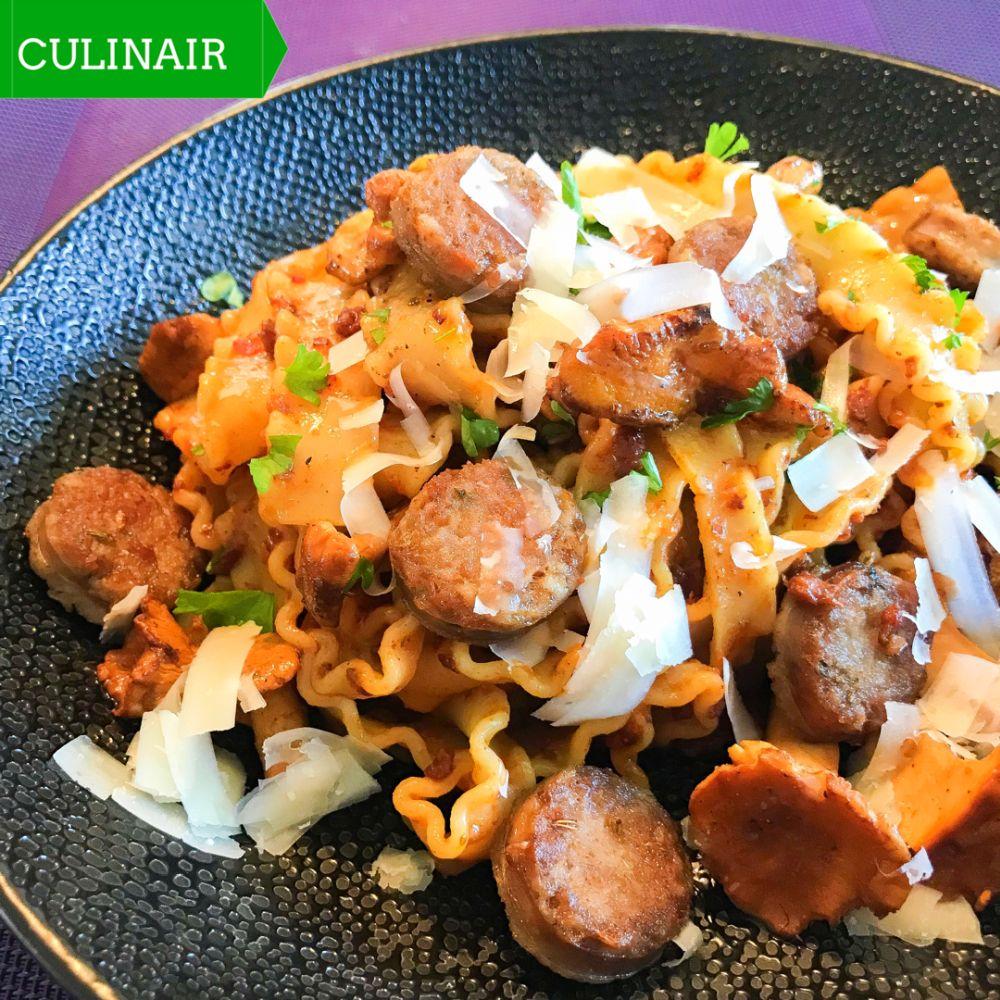 pasta met venkelworst en cantharellen