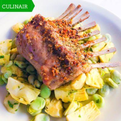 Lamsrack met salade van artisjok en tuinbonen