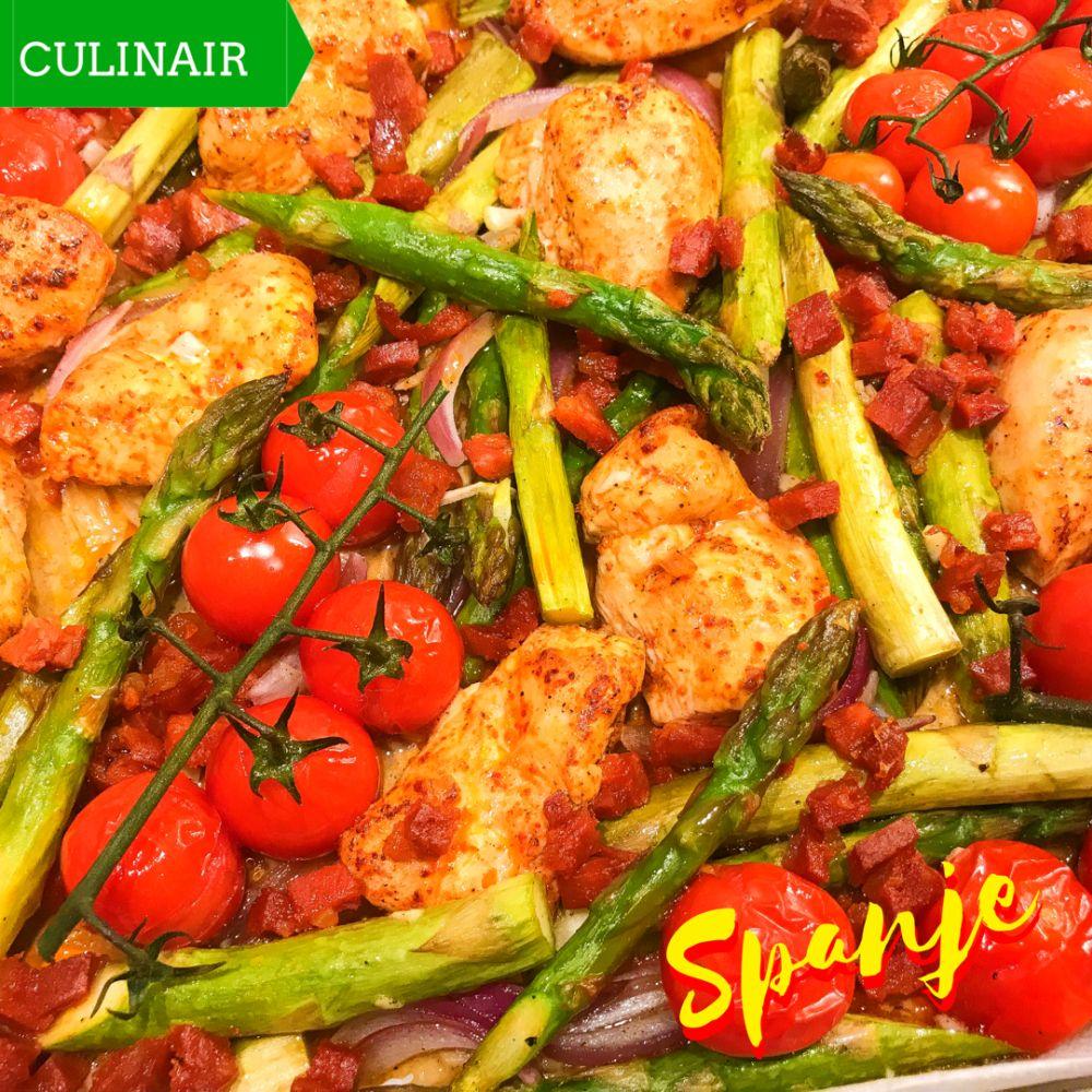 traybake kip groene asperges tomaat chorizo