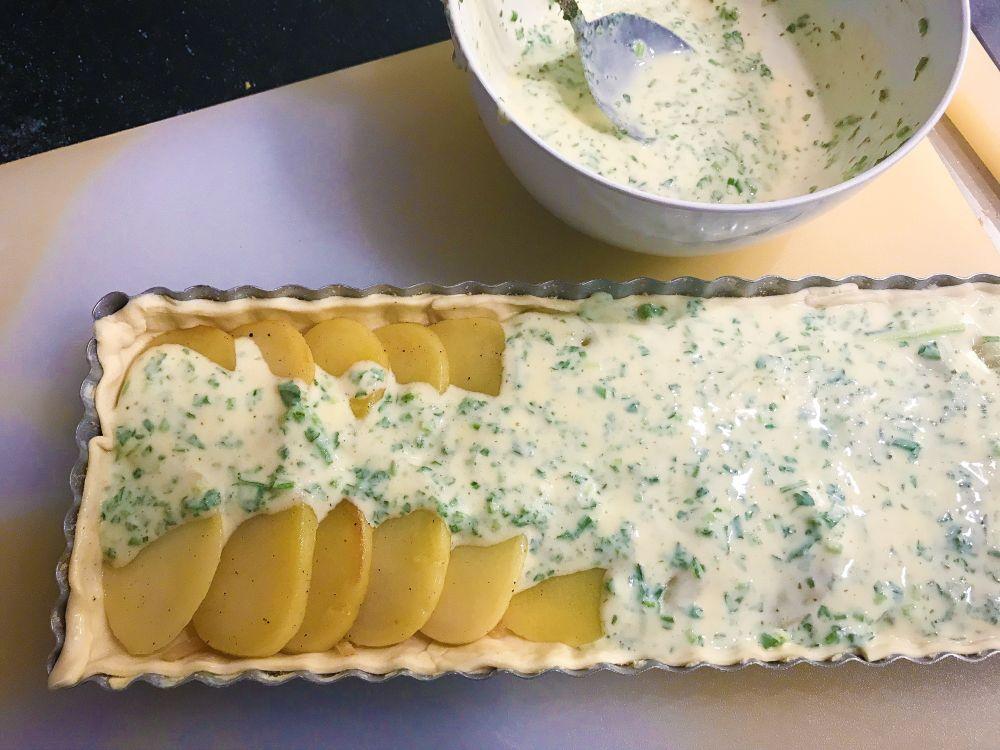 aardappel-uientaart beleggen
