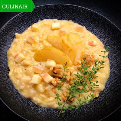 Risotto met peren, taleggio, walnoten en grappa