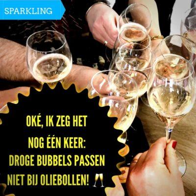 champagne past niet bij oliebollen