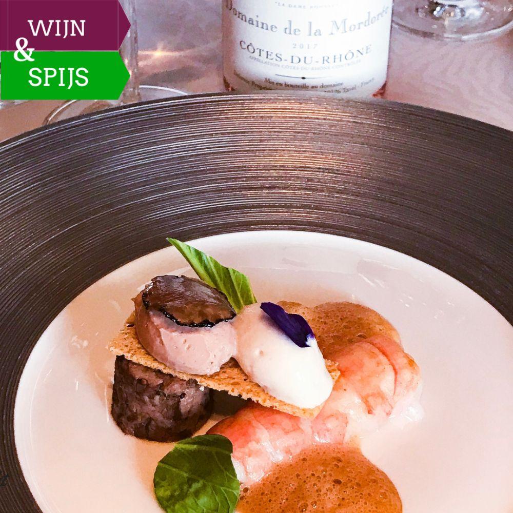 winnende combinatie - langoustine en kalf met La Dame Rousse rosé