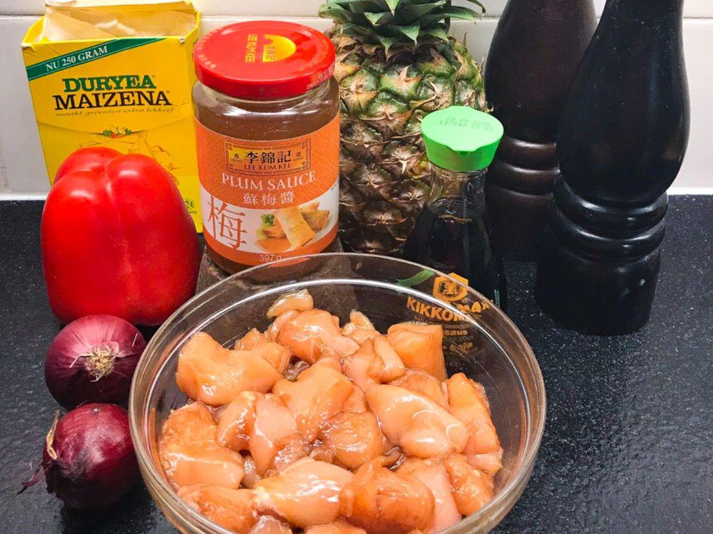 ingrediënten kip met plum sauce