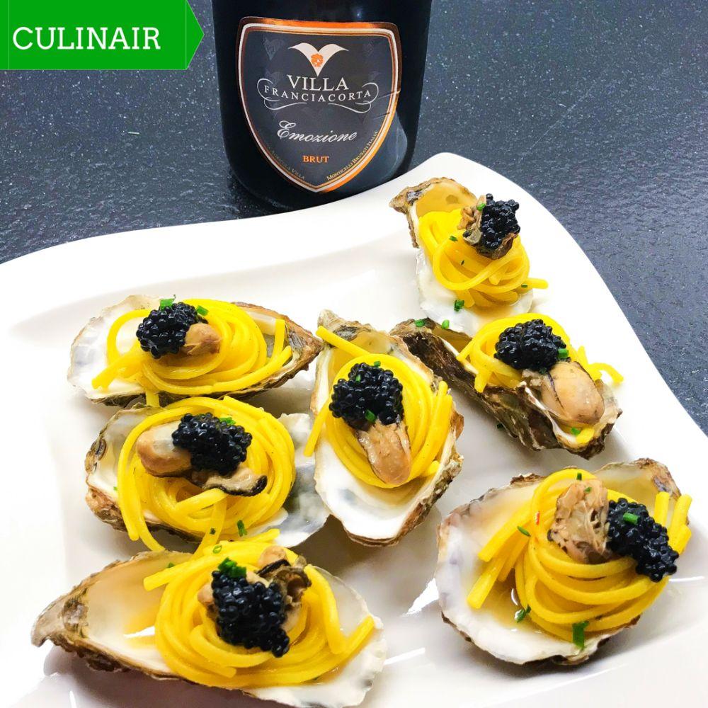 saffraanlinguine met oesters en kaviaar