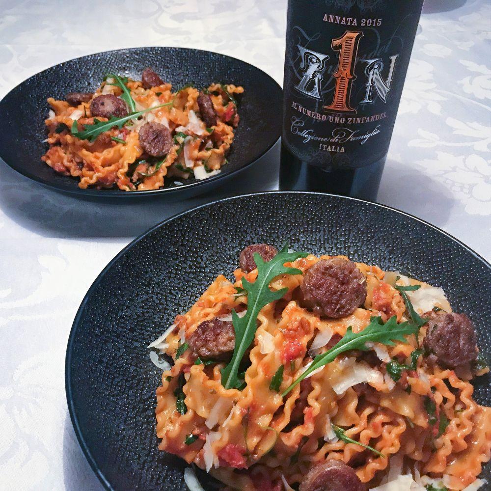 wijntip pasta met venkelworst