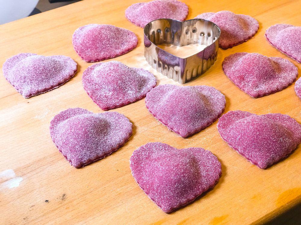 6 rode ravioli-hartjes