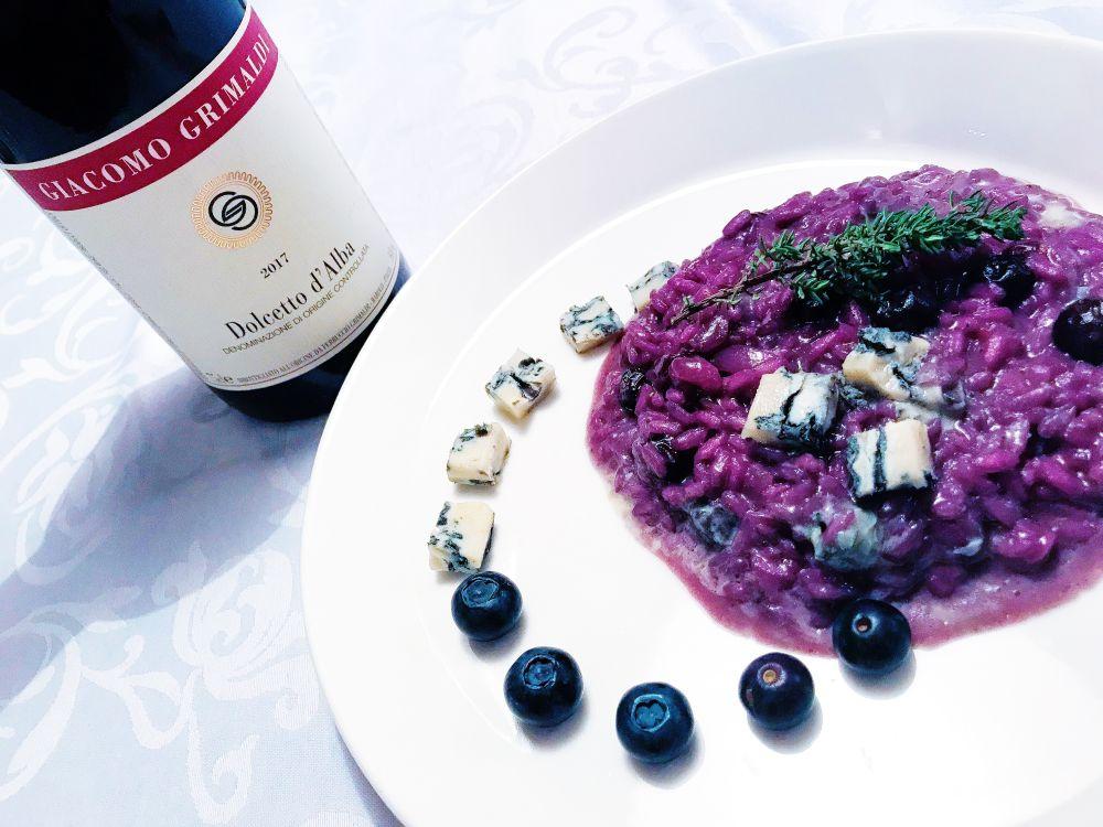 dolcetto bij risotto met bosbessen en gorgonzola