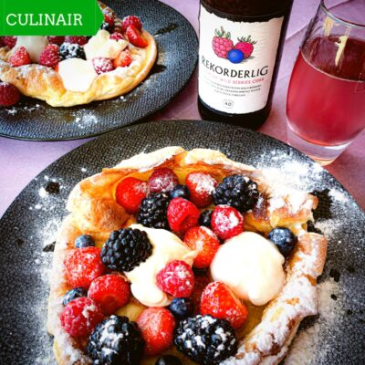 Dutch Baby met rood fruit en Licor 43 en Rekorderlig cider