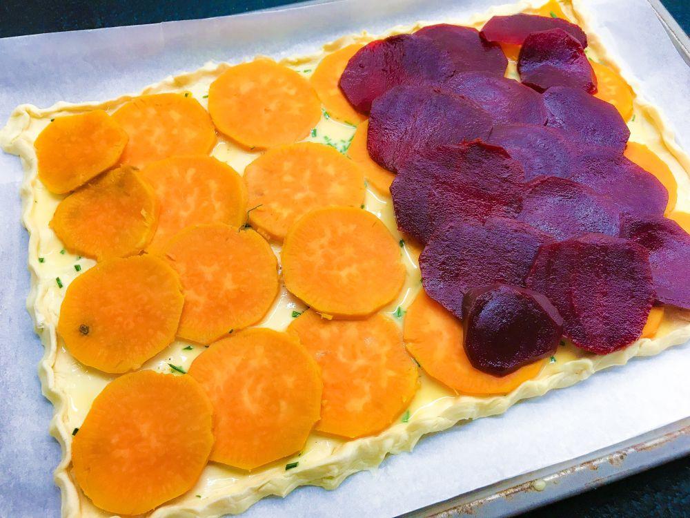 hartige taart met bietjes en zoete aardappel - 1