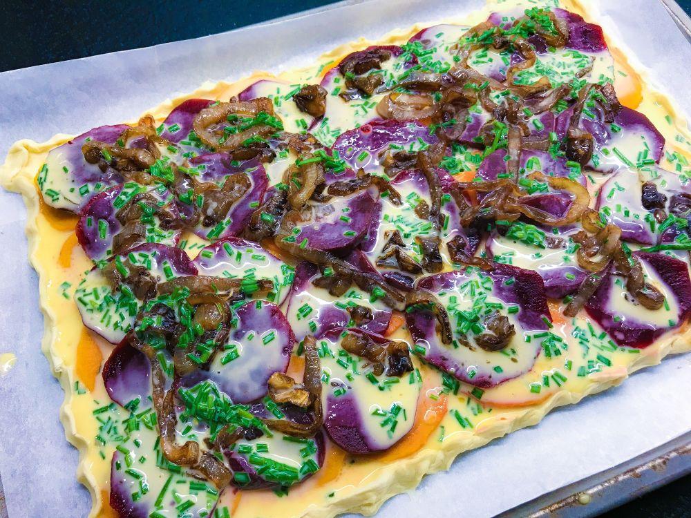 hartige taart met bietjes en zoete aardappel - 3