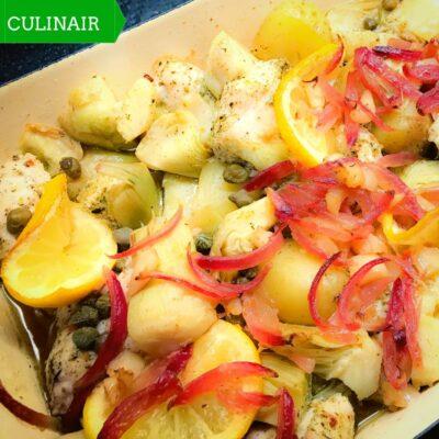 kalkoen artisjok en citroen uit de oven