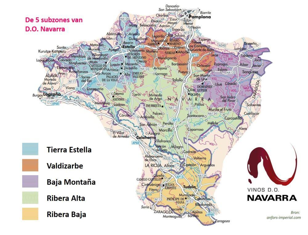 5 subzones van DO Navarra