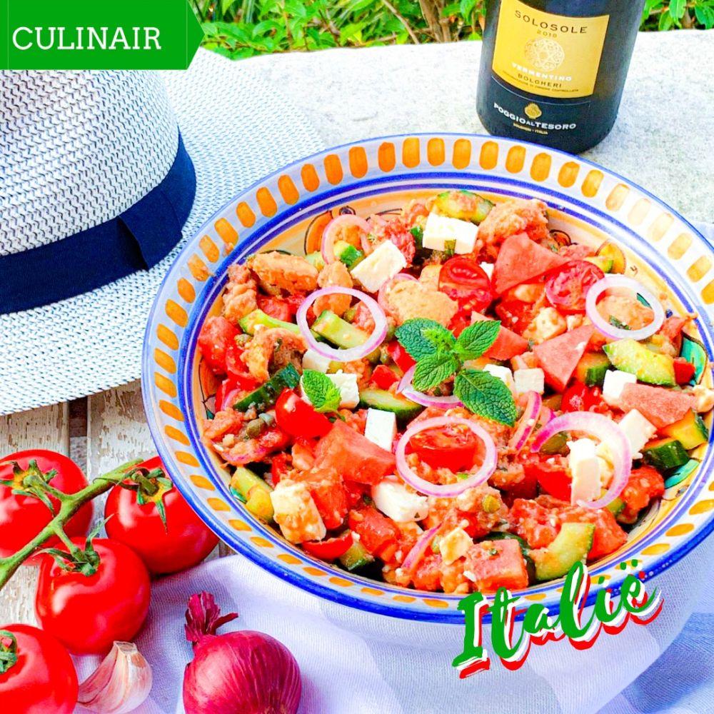 anzanella met een zomerse twist van watermeloen munt en feta