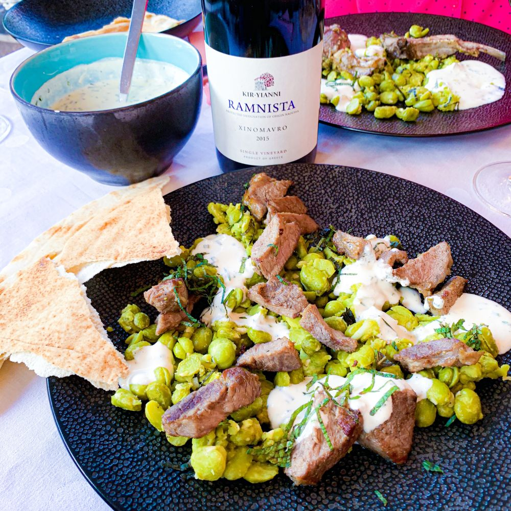 lam met tuinbonen en Ramnista van Kir-Yianni