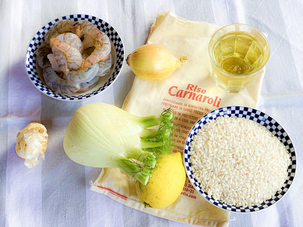 ingrediënten citroenrisotto met venkel en gamba's