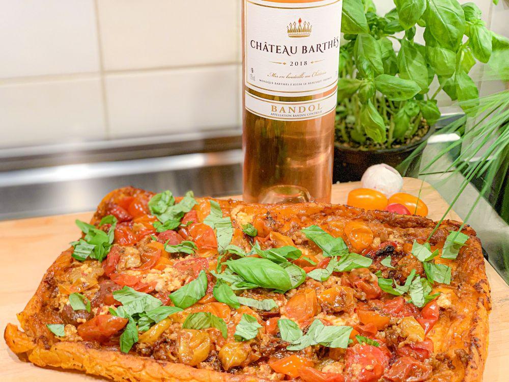 tarte tatin met tomaat en Bandol rosé Château Barthes
