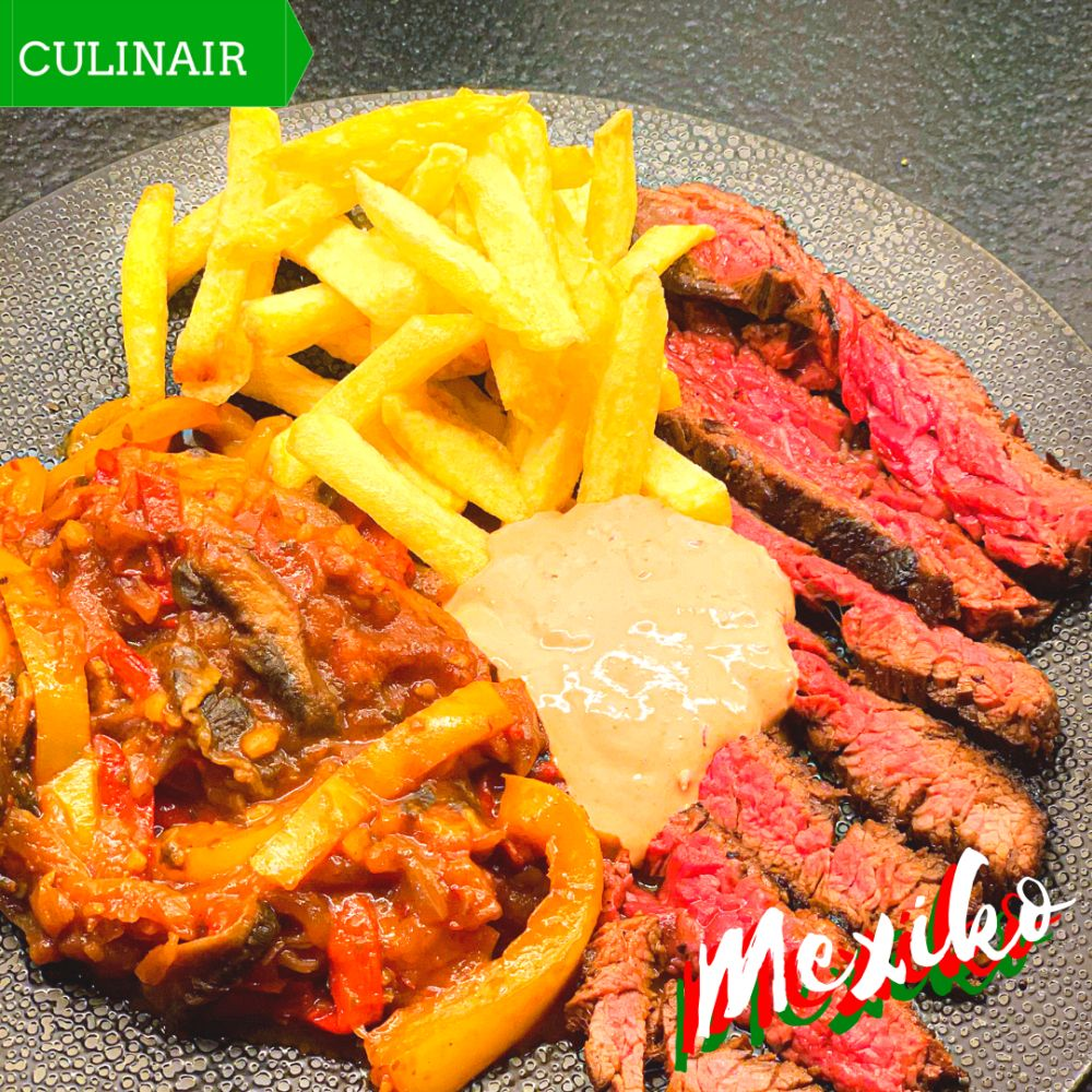 Gemarineerde Mexicaanse steak met paprika-portobellostoof
