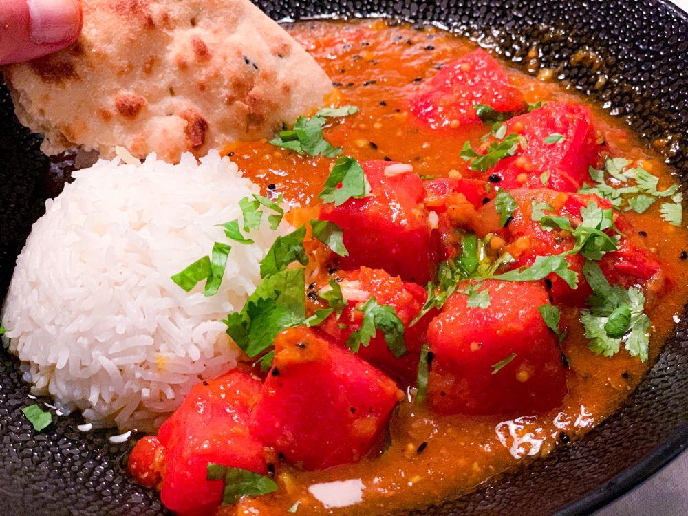 watermeloencurry met chapati en rijst