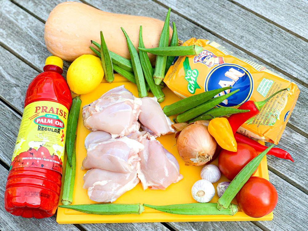ingrediënten muamba de galinha uit Angola