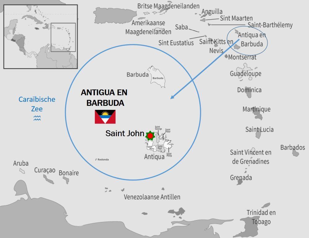 kaart Antigua en Barbuda