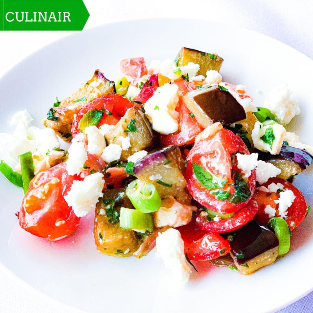 salade aubergine tomaat