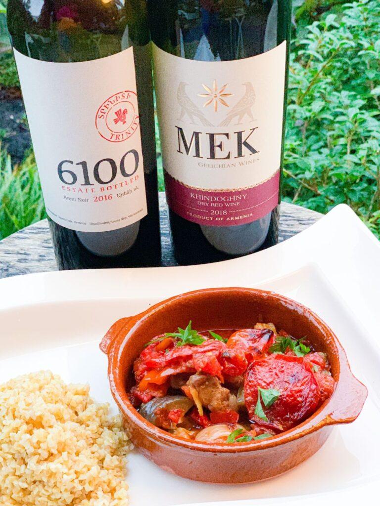 Armeense guveç met Armeense wijnen