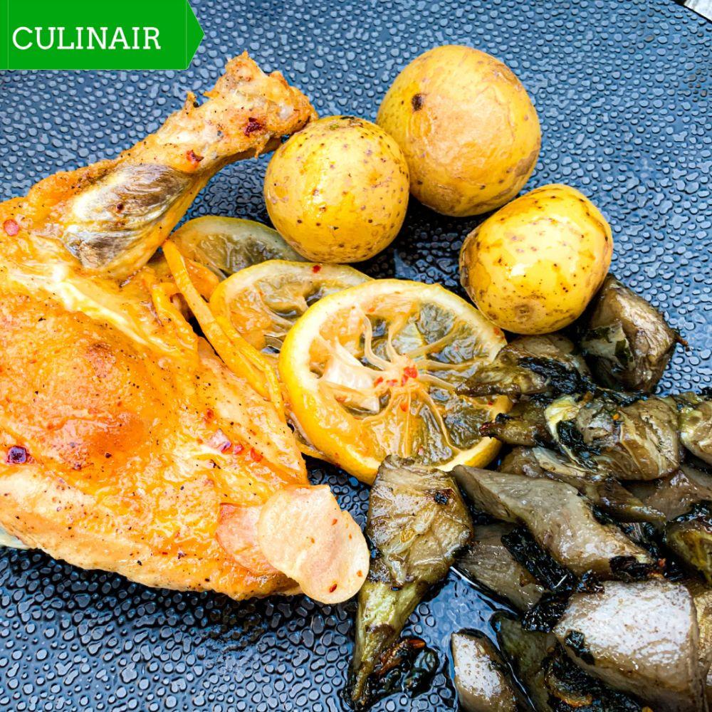 Parelhoen met citroen en gestoofde artisjok