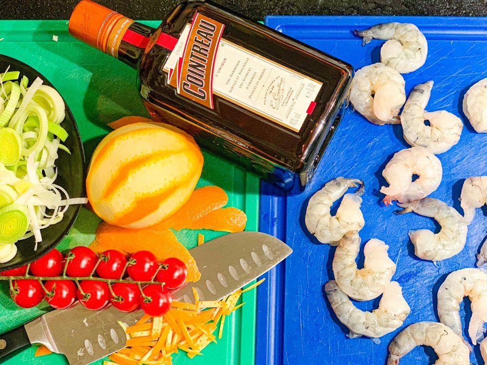 Pasta met tijgergarnalen en sinaasappel - ingrediënten