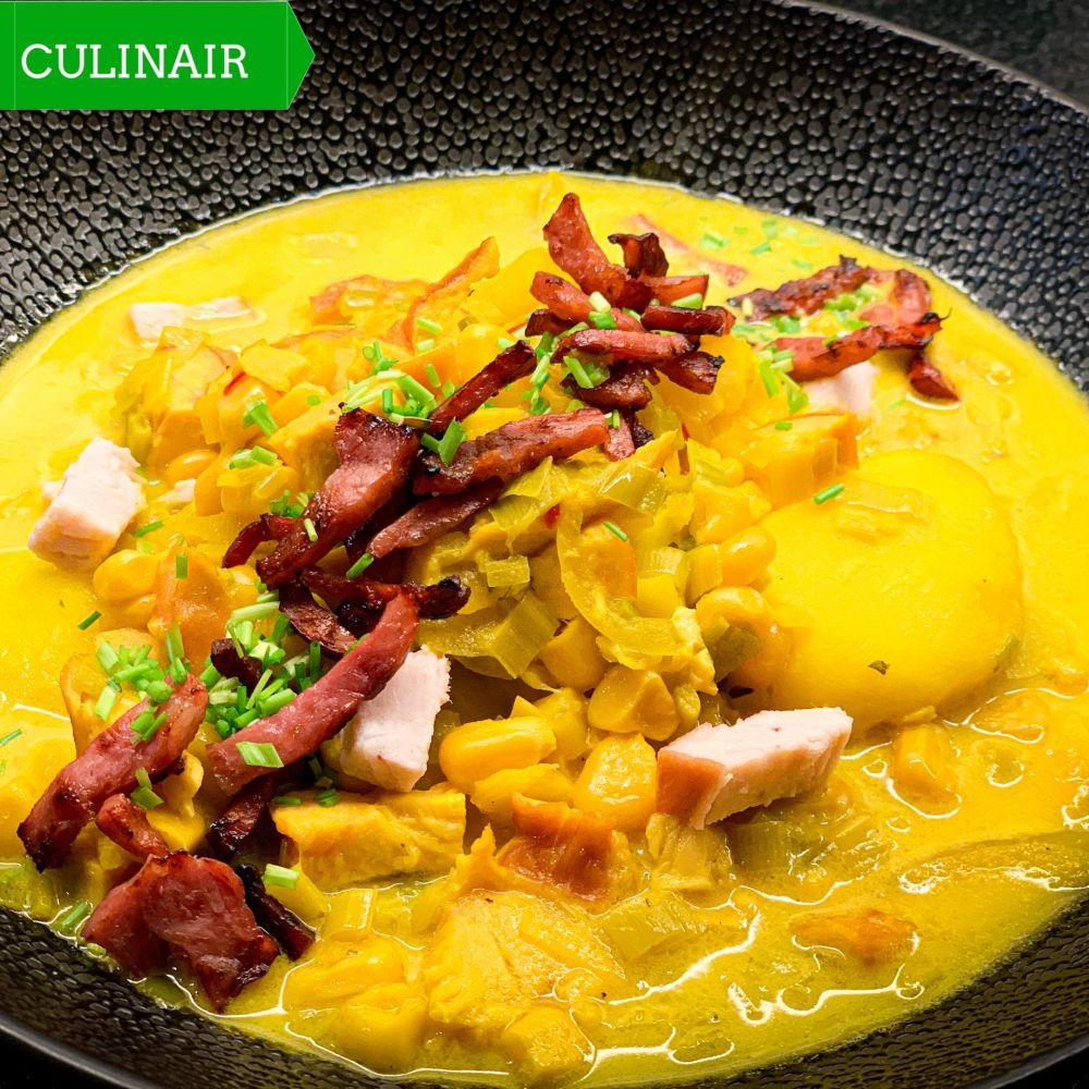 Chowder met gerookte kipfilet maïs en saffraan
