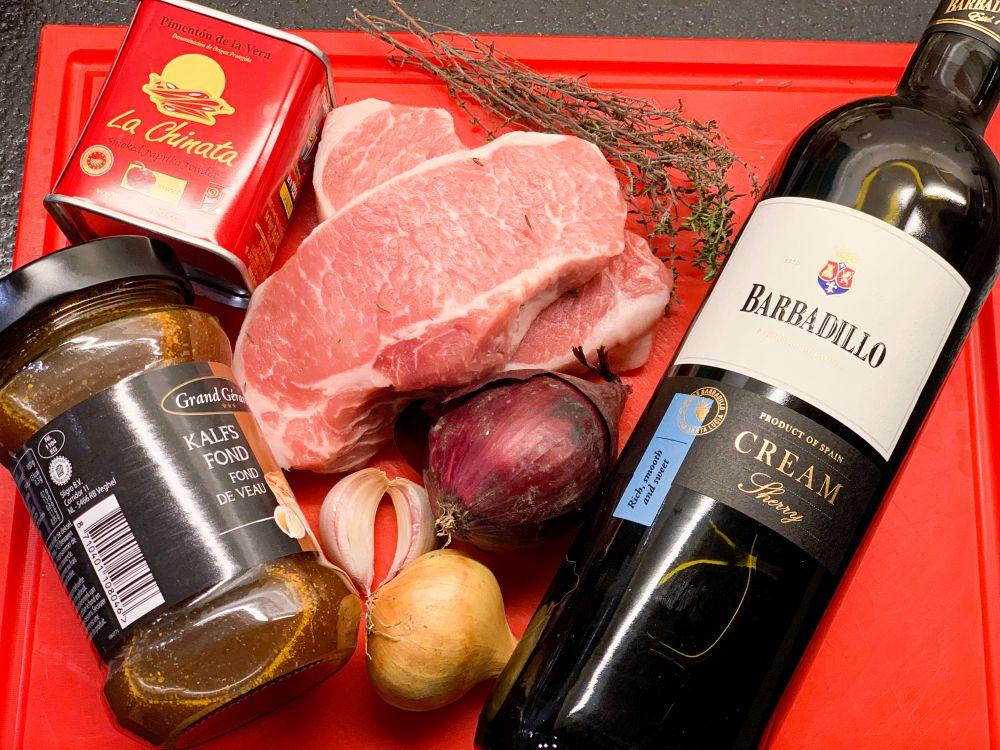 Ingrediënten Spaanse varkensfilet met sherrysaus