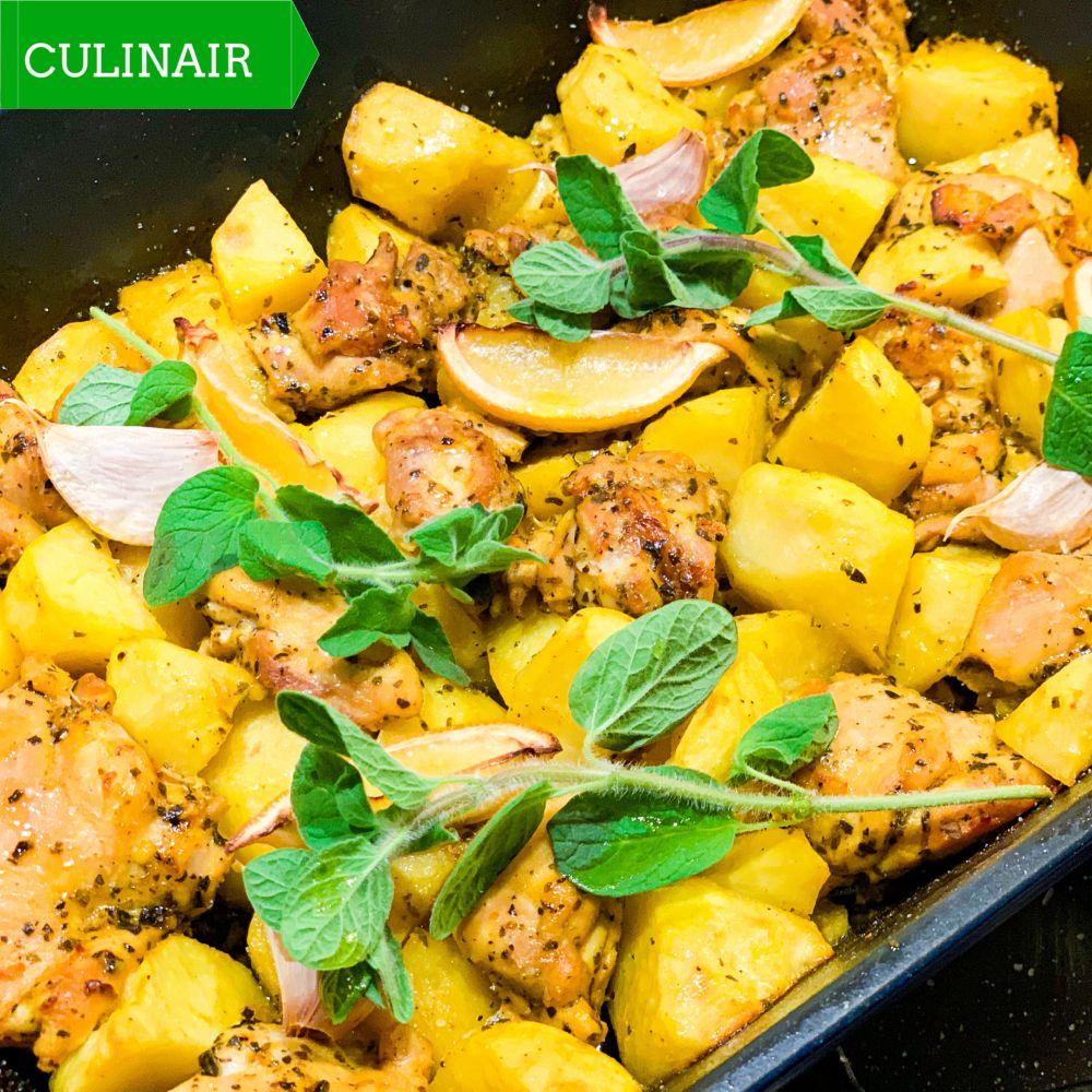 Griekse ovenschotel met kip aardappelen en citroen