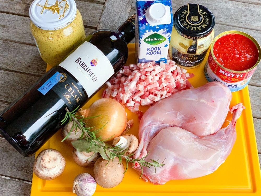 Ingrediënten Spaans konijn met sherry-mosterdsaus