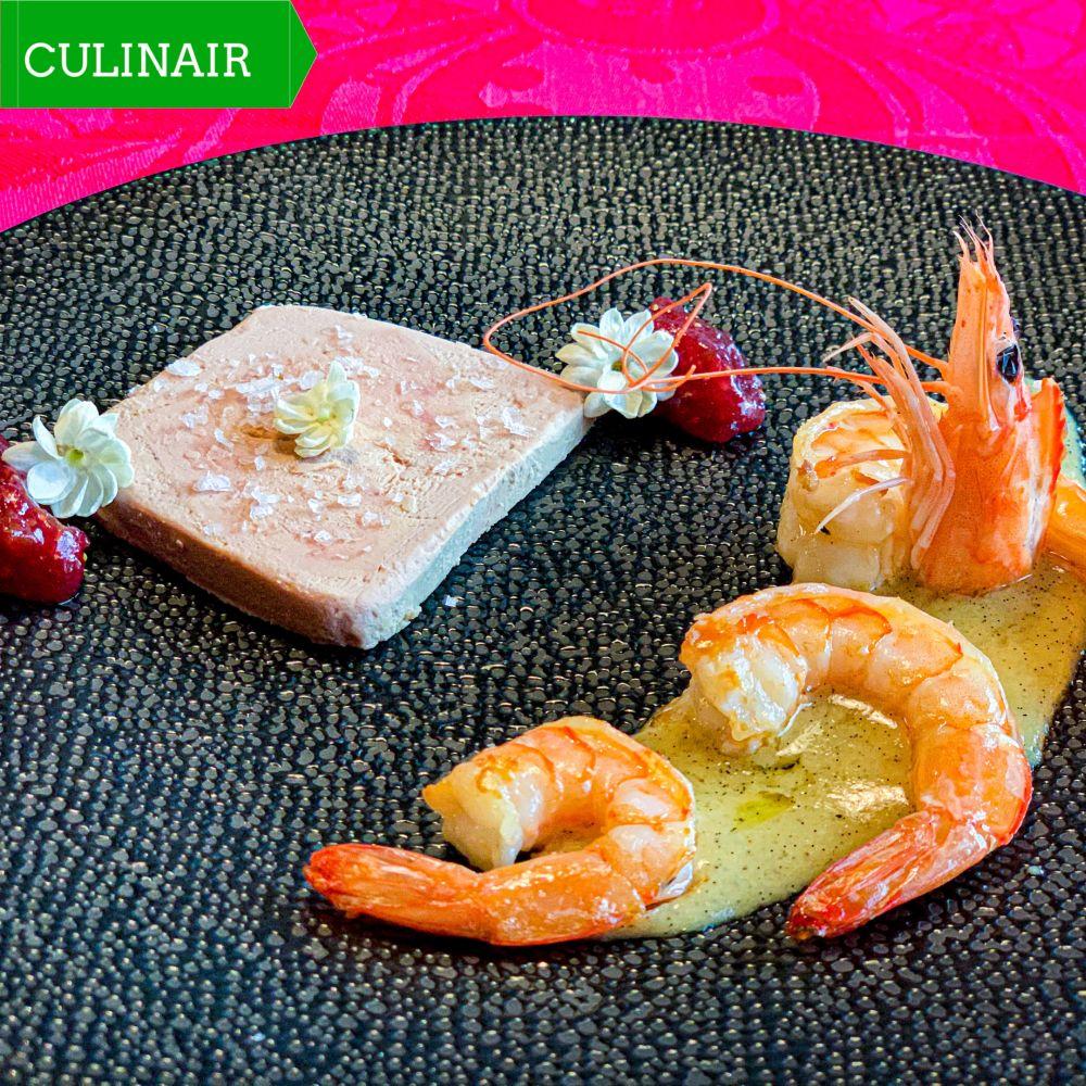 Surf en Turf foie gras met gambas en vanillesaus