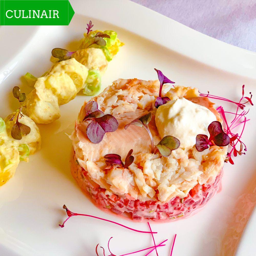 Tartaar van rode biet en lauwwarme aardappelsalade