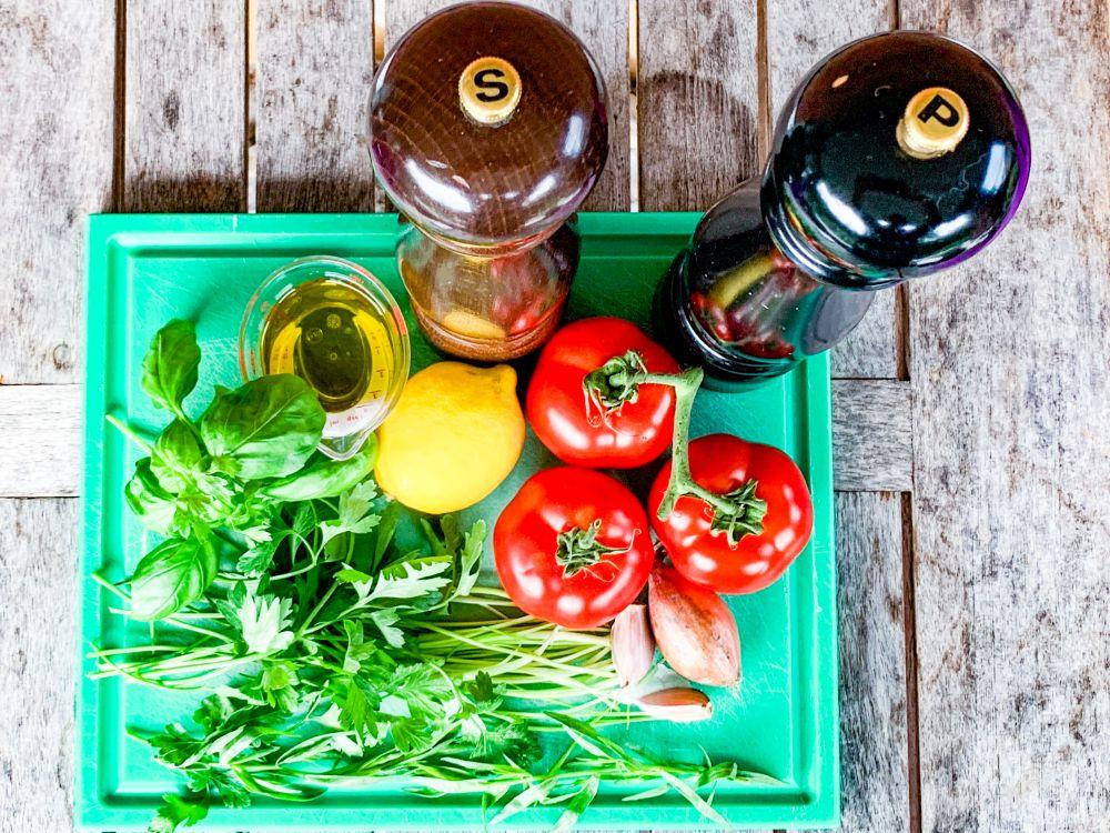 Ingrediënten sauce vierge