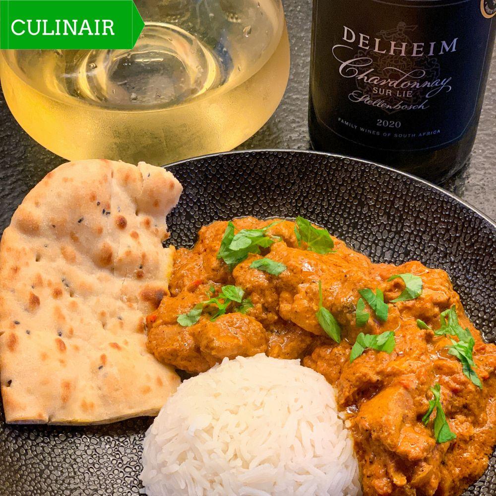 Butter chicken en Delheim chardonnay sur lie