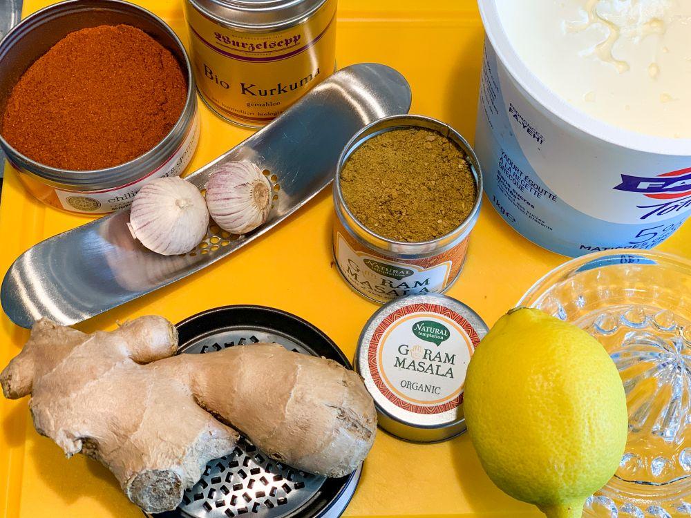 Ingrediënten marinade butter chicken