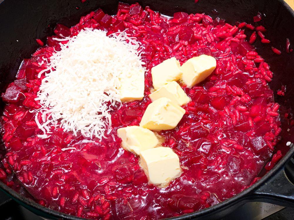 Bietenrisotto - Parmezaanse kaas en roomboter