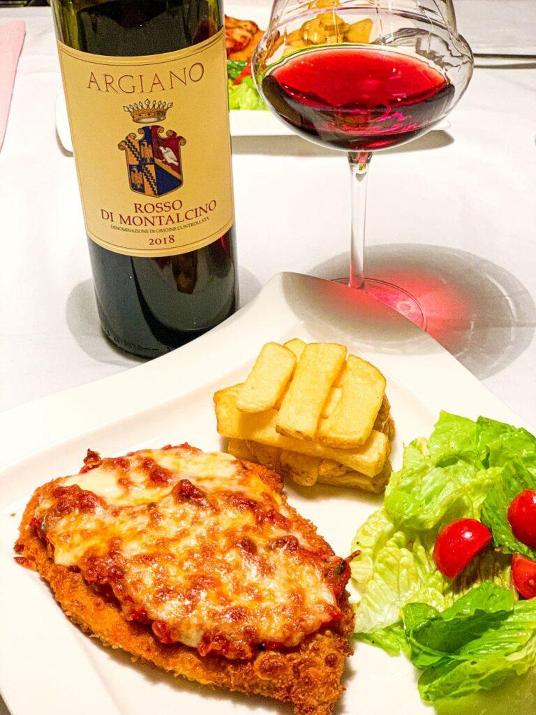 Rosso di Montalcino en schnitzel parmigiana